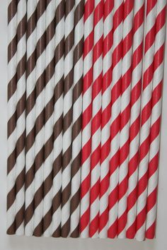 50 Sock Monkey Red Brown Striped Paper Straws by CupcakeExpress, $8.00