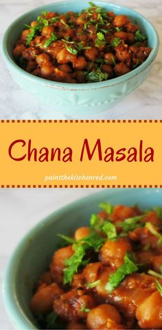 Chana Masala is a delicious, quick and easy vegetarian Indian garbanzo / chickpea curry that is just the right combination of spicy, salty, sour and a hint of sweet.