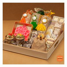 This leather tray gives your hamper a classy look. You can fill this fully customizable hamper with the best of both worlds - sweet and savory products. Diwali Gift Box, Diwali Gift Hampers, Diwali Craft, Diwali Gifts, Wedding Gift Baskets, Leather Tray, Rakhi Gifts, Diy Crafts For Gifts, Diwali Decorations