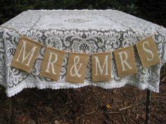 Mr. and Mrs. Burlap Sign Rustic Wedding Decor Banner via Etsy