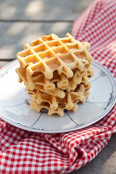 Classic, crispy, wonderful Waffles - I so want to slather these in caramel sauce and sliced peaches. #waffles #breakfast #brunch #food #dessert