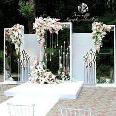 This is perfect! I'd rather have candles instead of those weird stick things, but the idea is right Wedding Reception Backdrop, Garden Wedding Decorations, Backdrop Decorations, Backdrops, Wedding Stage Design, Wedding Collage, Marriage Decoration, Wedding Altars, Floral Backdrop