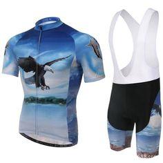 Men's Blue Eagle Short Sleeve Cycling Jersey Set #Cycling #CyclingGear #CyclingJersey #CyclingJerseySet