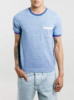 BLUE KNITTED T-SHIRT - Men's T-Shirts & Vests - Clothing