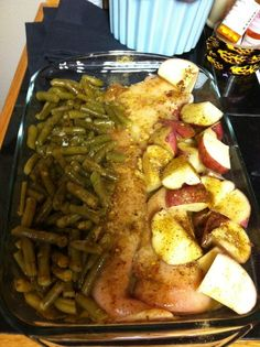 Chicken breasts, green beans, red potatoes, Italian dressing mix,& a stick of butter. Cover with foil. Cook in oven @350 for a hour n half