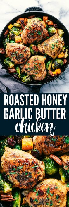 Roasted Honey Garlic Butter Chicken with Brussels Sprouts and Butternut Squash is a rustic and delicious meal that is full of amazing flavor.