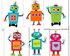 Robot Printable Party Set Birthday Banner by TracyAnnPrintables