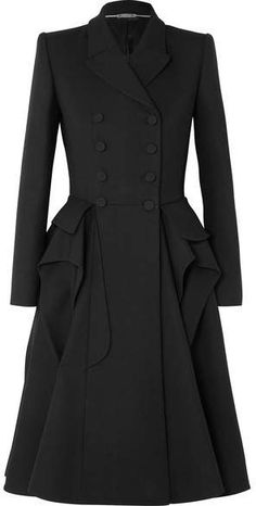 Black wool-blend cady Button fastenings through double-breasted front wool, silk, polyamide Dry clean Made in Italy Sarah Burton, Black Dress Coat, Coat Dress, Alexander Mcqueen Dresses, Dresses Short, Black Ruffle, Black Wool, Mannequin, Distressed Denim