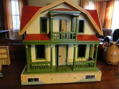 Antique-Gottschalk-Red-Roof-Dollhouse-Furnished-and-Gorgeous