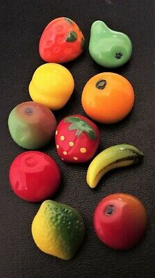 Vintage Glass Button Hand Painted Orange Fruit