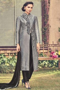 Steel #grey & #black pure raw #silk lovely embroidered #kameez with cigarette pant -SL5460