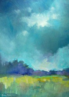 {efgart} Landscape Painting #art Cool colors green blue