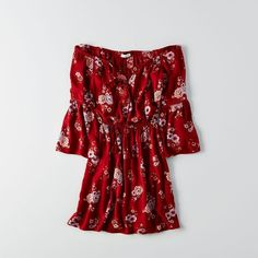 AE Off-The-Shoulder Bell Sleeve Dress ($50) ❤ liked on Polyvore featuring dresses, red, floral print dress, red dress, neck ties, off shoulder dress and flared sleeve dress