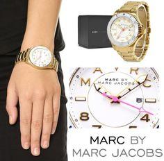 New-Marc-by-Marc-Jacobs-MBM3408-Gold-Bracelet-White-Bezel-Watch-in-Original-Box