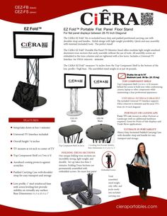 CiERA EZ Fold™ - Black Portable Tv Stand, Product Brochure, Black, Design, Black People, Design Comics