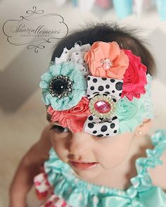 Aqua Headband/CoutureHeadband/Shabby Chic Headband/Infant Headband/Baby Headband/Toddler Headband/Girls Headband/Birthday Headband/Headwrap