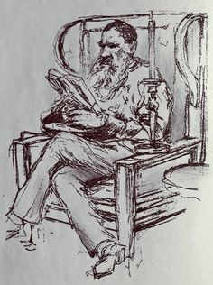 """detroitlib:  С днем рожденияCount Lev Nikolayevich Tolstoy!(9 September1828 – 20 November 1910)   From our stacks: Frontispiece""""Tolstoy Reading. Photogravure from Drawing by I. E. Ryépin"""" from The Complete Works of Count Tolstóy. Volume XVI. My Religion; On Life; Thoughts on God; On the Meaning of Life. By Count Lev N. Tolstóy. Translated from the Original Russian and Edited by Leo Weiner Assistant Professor of Slavic Languages at Harvard University. Edition De Luxe. Limited to One…"""