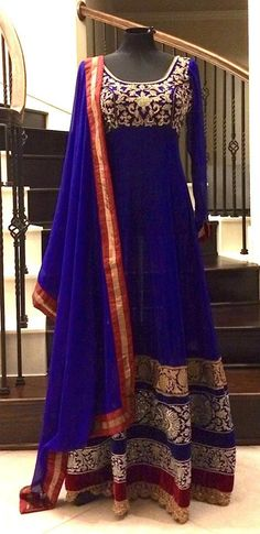 Floor length anarkali, DIY WITH LACE