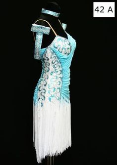 Blue White Latin Salsa Dance Dress s Swarovski Stones   eBay