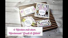 4 Karten mit dem Kartenset Gruß + Glück Stampin' Up