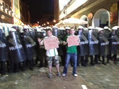 Ireland fans react to the police presence in Poznan