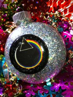 pink floyd ornaments | PINK FLOYD Dark Side of The MOON Glass Holographic Glitter Resin ...