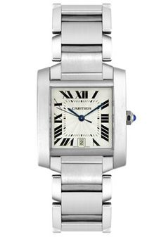 Stainless steel Cartier Tank Francaise automatic watch featuring a white Roman date dial. The watch is attached to a high polished stainless steel bracelet. Designed by Cartier. Visit our Northside Indianapolis store to view our entire Cartier collection. Stainless Steel Tanks, Stainless Steel Watch, Stainless Steel Bracelet, Gents Watches, Cool Watches, Watches For Men, Black Watches, Cartier Santos, Cartier Tank Francaise
