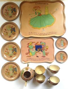 "Vintage 1935 Ohio Art tin-litho child's toy tea set ""Cinderella"" #OhioArt"