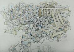 KIEL JOHNSON Basic Layout, 2014  graphite & watercolor on paper mounted to panel
