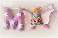 Nursery decor, baby name sign, Cute Elephant decor, felt name banner, baby felt letters, baby name g