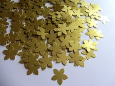 Gold paper flowers small paper flowers, small die cuts, paper flower punches, scrapbooking, wedding confetti, party confetti, table confetti