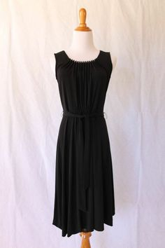CALVIN KLEIN Black Sleeveless Jersey knit Pintucked Dress LBD Size XS NEW