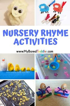 Nursery Rhyme Themed Activities for Toddlers Nursery Rhyme Themed Activities for Toddlers – fun nursery rhyme craft and activity ideas to keep your baby or toddler busy – perfect for daycare workers or stay at home parents. Nursery Rhyme Crafts, Nursery Rhymes Preschool, Nursery Rhyme Theme, Nursery Activities, Rhyming Activities, Nursery Rhymes Songs, Infant Activities, Activities For Kids, Activity Ideas