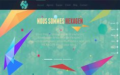 Colorful parallax-scrolling one page website for  'Hexagen'