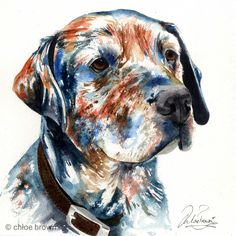 commissioned pet painting, painted in watercolour by Chloe Brown Chloe Brown, Contemporary Artwork, Animal Paintings, Pet Portraits, Original Artwork, Labrador, Pets, Watercolour, Modern