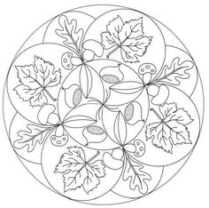 Fall mandala coloring pages Mandala Coloring Pages, Coloring Book Pages, Printable Coloring Pages, Coloring Pages For Kids, Coloring Sheets, Autumn Crafts, Stained Glass Patterns, Zentangle Patterns, Art Plastique