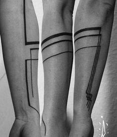 on arm by Jorge Ramirez, Berlin, Germany Tattoo Band, 1 Tattoo, First Tattoo, Body Art Tattoos, New Tattoos, Sleeve Tattoos, Tattoos For Guys, Cool Tattoos, Geometric Tattoo Forearm