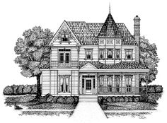 Eplans Queen Anne House Plan - Quaint Queen Anne - 2440 Square Feet and 3 Bedrooms(s) from Eplans - House Plan Code Victorian House Plans, Antique House, Victorian Design, Victorian Homes, Victorian Fashion, Small House Floor Plans, Dream House Plans, Dream Houses, The Sims