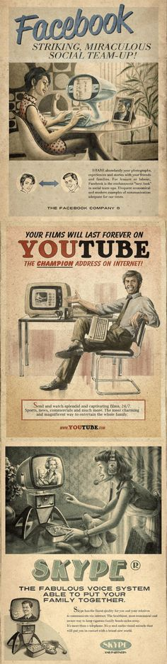 Facebook, YouTube and Skype advertised in the 1960s