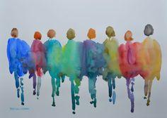 Figures in Color 1 Original Watercolor Painting Large door ArtistRMG