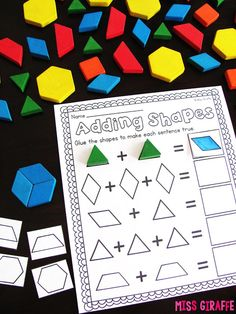 Composing Shapes is such a fun topic in first grade and kindergarten geometry! Learning how to compose and shapes is fun because, well. Teaching Shapes, Teaching Math, Primary Teaching, Teaching Ideas, Kindergarten Math Worksheets, In Kindergarten, Maths, Geometry Activities, Math Activities