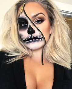 Makeup looks halloween faces 24 new ideas Zipper Halloween Makeup, Zipper Face Makeup, Amazing Halloween Makeup, Zipper Face Costume, Skeleton Face Makeup, Halloween Skeleton Makeup, Facepaint Halloween, Skeleton Face Paint, Halloween Costumes