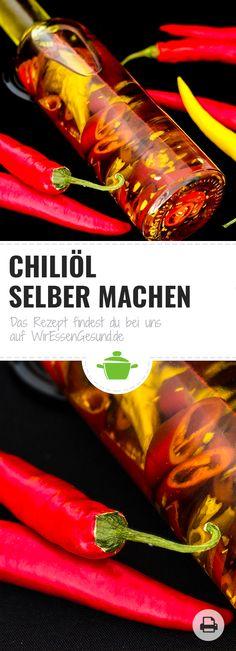 Chiliöl selber machen? Mit unserem Rezept kannst du dein eigenes Öl nach deinen Vorstellungen selber machen, denn Chiliöl bspw. braucht man nun wirklich nicht zu kaufen. ;) http://www.wir-essen-gesund.de/chilioel-selber-machen/