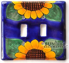 Talavera Ceramic Switch Plate - Sunflower - Double Standard