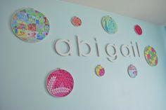 Embroidery hoop wall art in the nursery - #walldecor #nursery