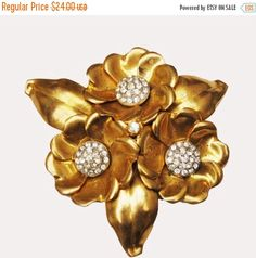 Floral Brooch Rhinestone Gold with trombone by serendipitytreasure