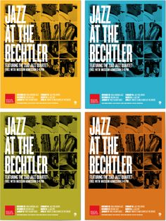 "Inspiring Instrumentals - Join the Ziad Jazz Quartet at Jazz at the Bechtler on June 7 to celebrate the music of Duke Ellington. ""The Bechtler Museum Jazz Series Poster by Jessica Manner, via Behance"""