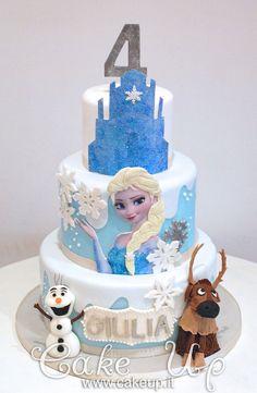 FROZEN ELSA CAKE WITH GLITTER CASTLE & SNOWFLAKES