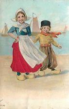 Dutch Boy & Girl on Waterfront~Costumes~Wooden Shoes~Silk Skirt~Emboss~Ettlinger