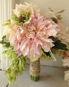 Lovely Rustic Wedding Bouquet Arranged With: Blush Café Au Lait Dinner Plate Dahlias, Dried Scabiosa Pods, Green Hosta & Green Foliage Hand Tied With Jute String